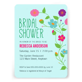 Colorful Flowers Leaves Bridal Shower Card
