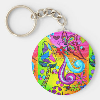 colorful flowers mushrooms butterfly keychain