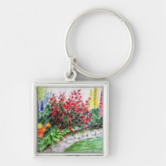 Colorful Flowers on a Stone Wall Keychain