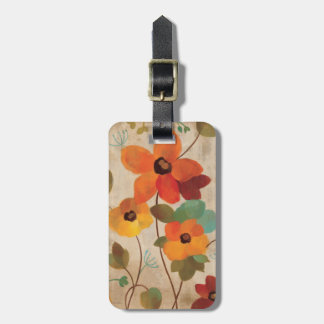 Colorful Flowers on an Off White Background Bag Tag