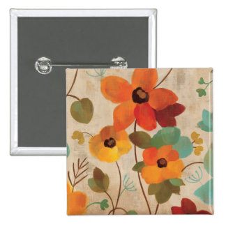 Colorful Flowers on an Off White Background Button