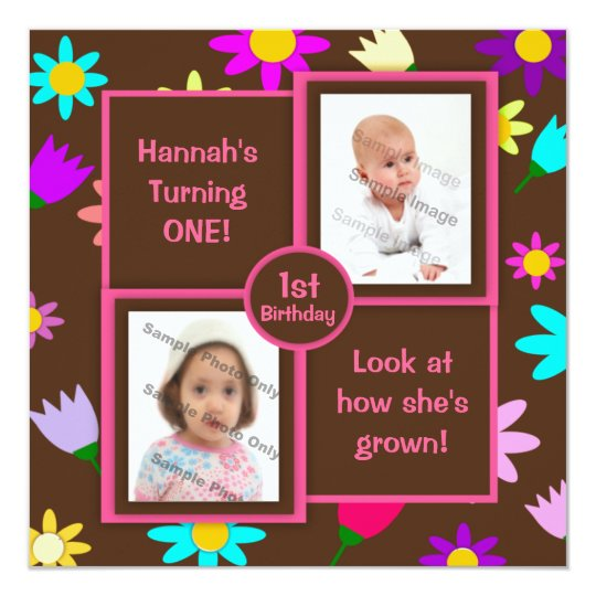 Colorful Flowers on Brown Photo First Birthday Card