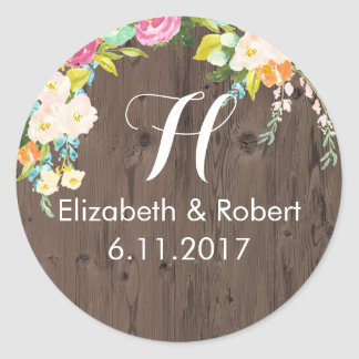 Colorful Flowers on Faux Wood Classic Round Sticker
