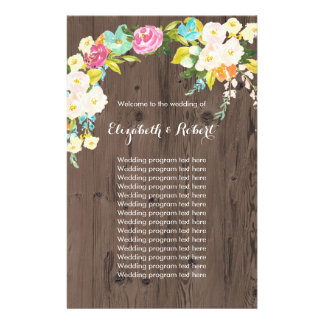 Colorful Flowers on Faux Wood Flyer
