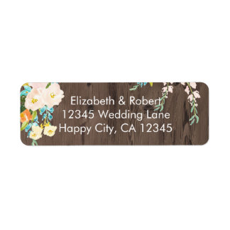 Colorful Flowers on Faux Wood Label