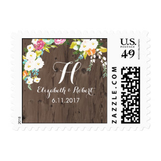 Colorful Flowers on Faux Wood Postage