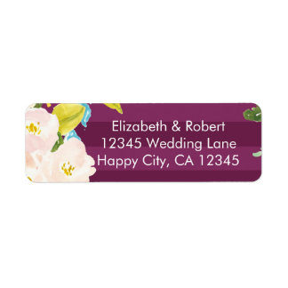 Colorful Flowers on Magenta Stripes Label