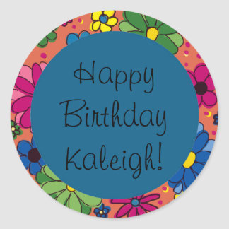 Colorful Flowers on Orange, Blue Birthday Sticker