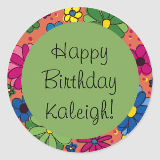 Colorful Flowers on Orange, Green Birthday Sticker