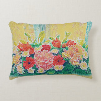 Colorful flowers painting accent pillow