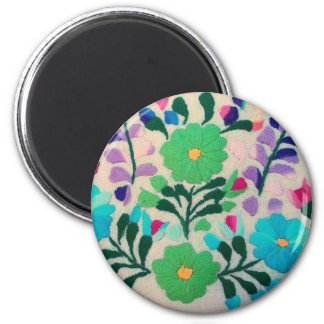 Colorful Flowers Pattern 2 Inch Round Magnet