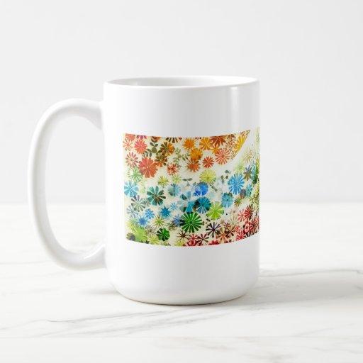 Colorful flowers pattern background coffee mug