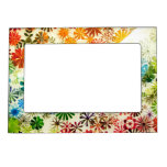 Colorful flowers pattern background picture frame magnet