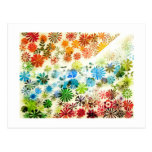 Colorful flowers pattern background postcard