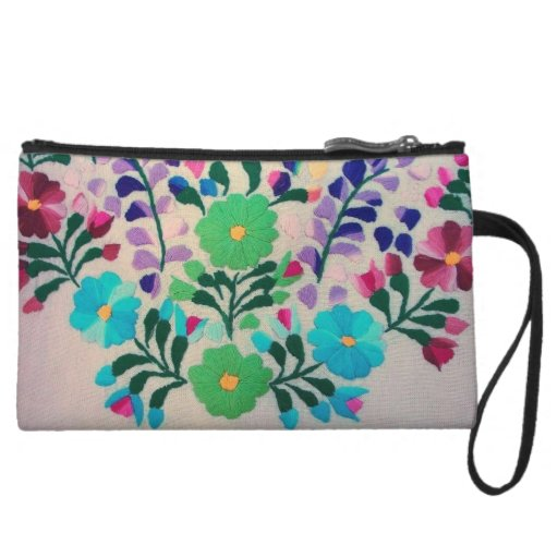 Colorful Flowers Pattern Wristlet Clutches