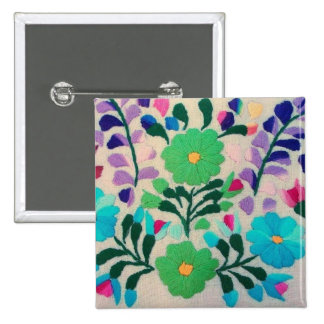 Colorful Flowers Pattern Button