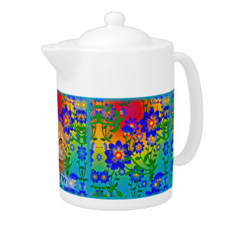 Colorful Flowers Pattern - Green, Blue, Yellow, Teapot