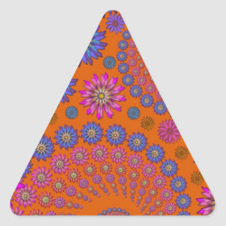 Colorful Flowers Pattern on Orange Triangle Sticker