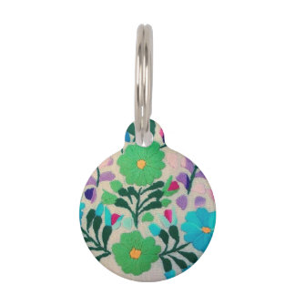Colorful Flowers Pattern Pet Tag