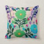 Colorful Flowers Pattern Throw Pillow at Zazzle