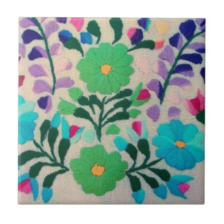 Colorful Flowers Pattern Tile