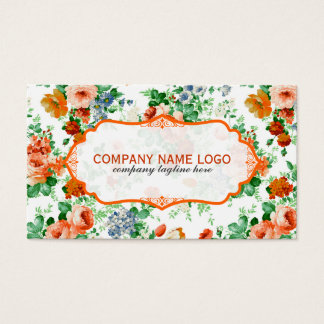 Colorful Flowers Pattern White Background Business Card