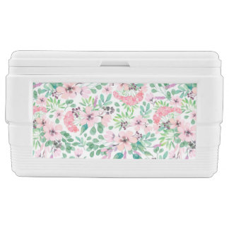 Colorful Flowers Pattern & Wreath Monogram Chest Cooler