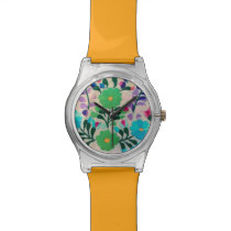 Colorful Flowers Pattern Wrist Watches