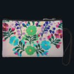 "Colorful Flowers Pattern Wristlet<br><div class=""desc"">embroidered flowers in multi colors. colorful crafty cottage style  floral pattern with green flowers,   blue flowers,  purple flowers,  pink flowers,  and flower buds in  hand embroidery on fabric. feminine,  cheerful,  and elegant flowing design. pretty and  sweet multi-colored needlework with bright dainty flowers  elegantly displayed in an embroidery.</div>"