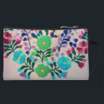 """Colorful Flowers Pattern Wristlet<br><div class=""""desc"""">embroidered flowers in multi colors. colorful crafty cottage style  floral pattern with green flowers,   blue flowers,  purple flowers,  pink flowers,  and flower buds in  hand embroidery on fabric. feminine,  cheerful,  and elegant flowing design. pretty and  sweet multi-colored needlework with bright dainty flowers  elegantly displayed in an embroidery.</div>"""
