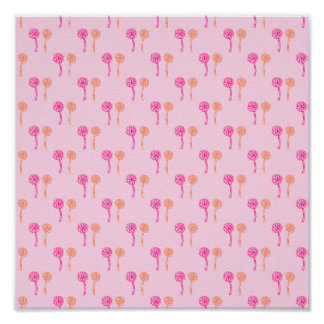 Colorful flowers. Pink and Orange Pattern. Print
