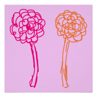 Colorful flowers. Pink and Orange. Print