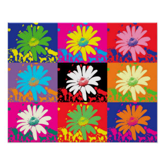 colorful flowers PopArt Plakat