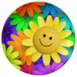 Colorful flowers porcelain plate