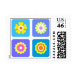 Colorful flowers postage stamp