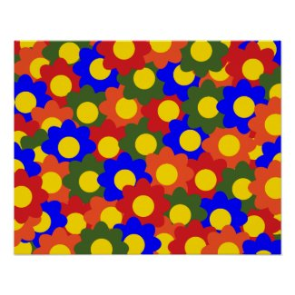 Colorful Flowers Red Blue Green Orange Poster
