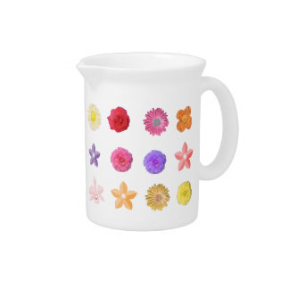 Colorful flowers, red, pink, yellow, purple flower beverage pitcher