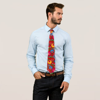 Colorful flowers, red style tie