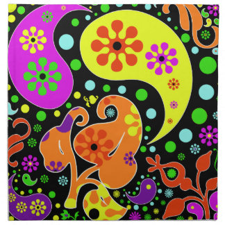 Colorful Flowers Retro Paisley Hippie Pattern Cloth Napkin