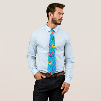 Colorful flowers, sky blue style neck tie