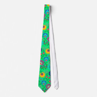 Colorful flowers, spring green style neck tie