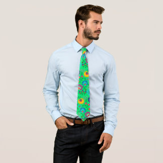 Colorful flowers, spring green style tie