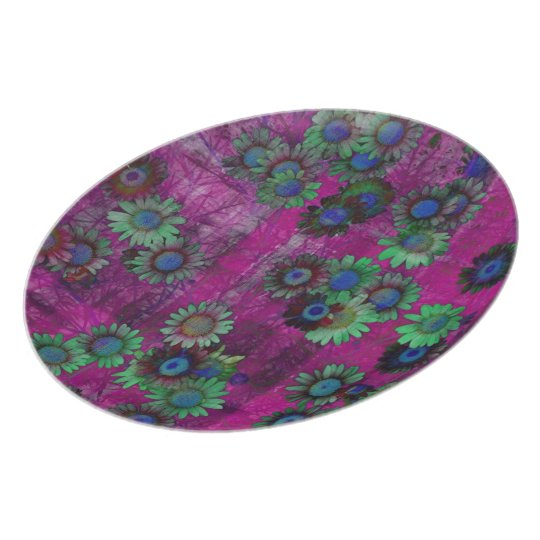 Colorful Flowers Striped Art Pattern Dinner Plate