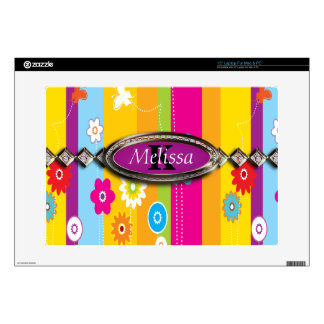 "Colorful Flowers Stripes & Butterflies Monogram 15"" Laptop Skins"