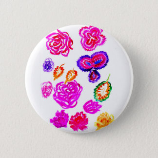 Colorful Flowers Strokes 2 Pinback Button