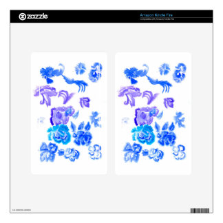 Colorful Flowers Strokes Kindle Fire Decals