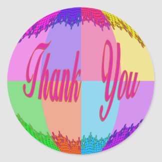 Colorful Flowers Thank You Round Sticker