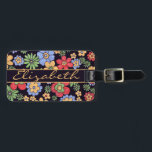 """Colorful Flowers to Personalize and Address Luggage Tag<br><div class=""""desc"""">Bright colored flowers in red, blue and yellow/gold with a black background with a banner that you can personalize. Click on &quot;Customize it&quot; to change the font style, color, and size. If you choose not to personalize it, simply delete the text and the banner image. The back is ready to...</div>"""