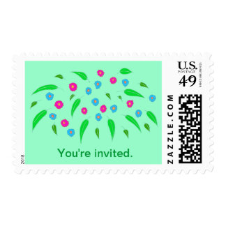 Colorful Flowers Twins Baby Shower Stamps