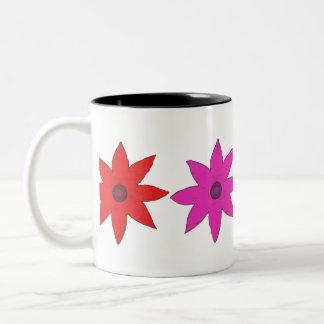 colorful flowers Two-Tone coffee mug